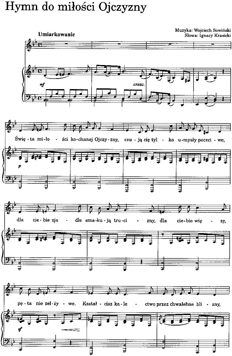 W Sowiński I Krasicki Hymn Do Miłości Ojczyzny Z Nutami